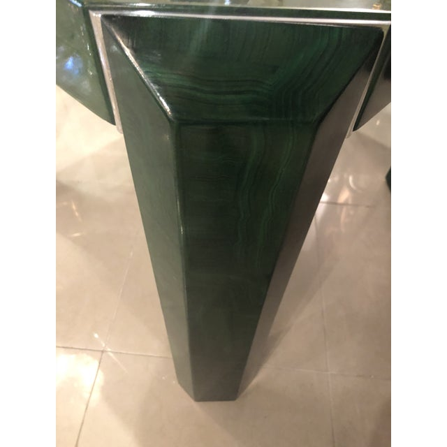 Metal Vintage Hollywood Regency Faux Malachite Chrome Game Dining Table For Sale - Image 7 of 13