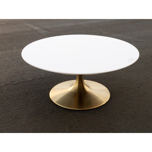 Mid Century Modern Tulip Coffee Table With Gold Base For Sale - Image 4 of 4