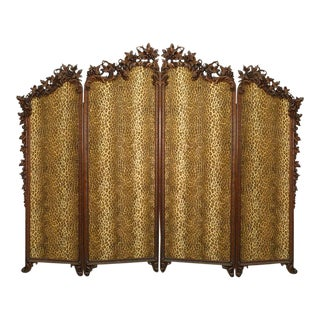 19th Century Rustic Black Forest Walnut Floral Carved Four Fold Screen For Sale