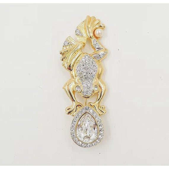 1980s Valentino Pavé Rhinestone Frog Pin For Sale - Image 4 of 7