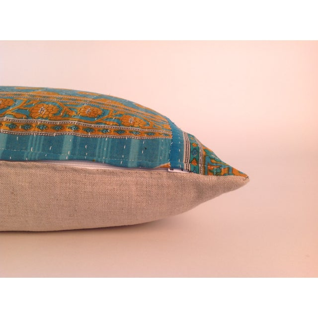 Vintage Indian Kantha Quilt Teal Pillows - A Pair For Sale - Image 4 of 4