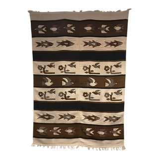 1970s Vintage Wall Tapestry / Area Rug - 4′5″ × 6′3″ For Sale