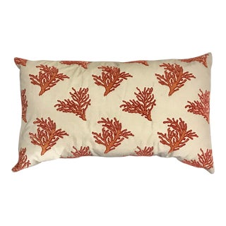 Red Coral Embroidered Rectangular Pillow For Sale