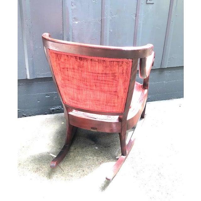 Antique Carved Wood Burgundy Velvet Rocking Chair For Sale - Image 6 of 7