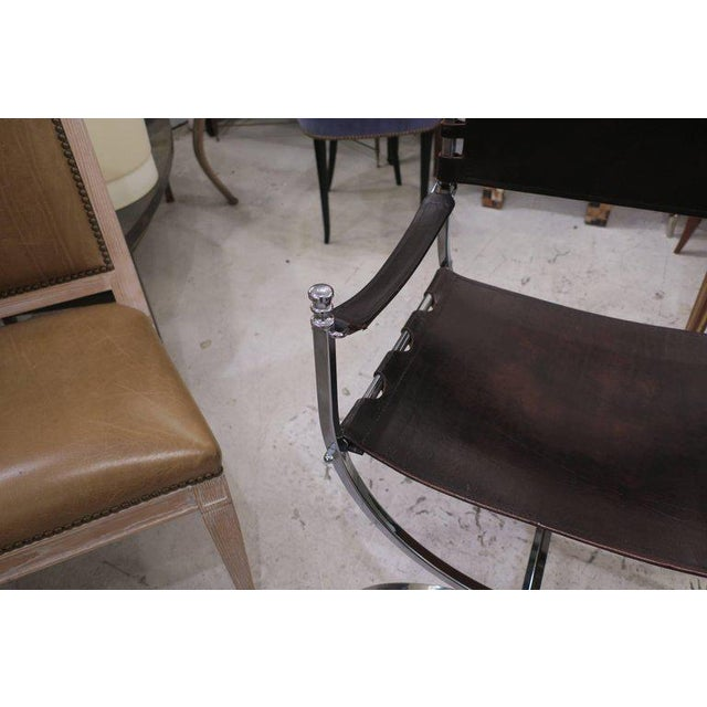Pair of Chrome and Leather Directors Chairs Attributed to Maison Jansen For Sale In New York - Image 6 of 10