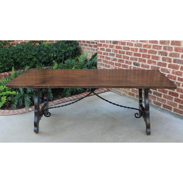 Antique French Spanish Oak 19th Century Mission Catalan Style Farmhouse Dining Table Desk For Sale - Image 9 of 13