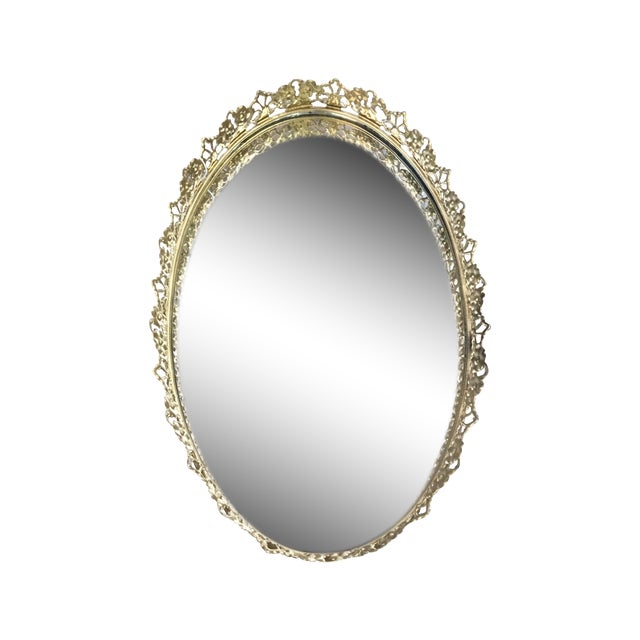 Floral Gilded Mirrored Vanity Tray - Image 1 of 6