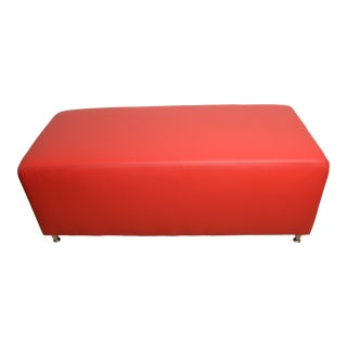 Eclectic Bench Ottoman Red Crossgrain Leather - 2 Available (Sold Separately) For Sale
