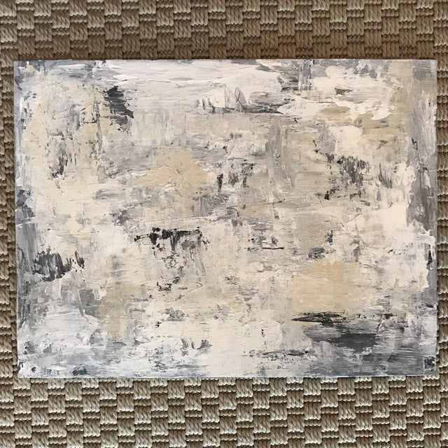 Neutral Grey White Blue Original Abstract Painting For Sale - Image 4 of 5
