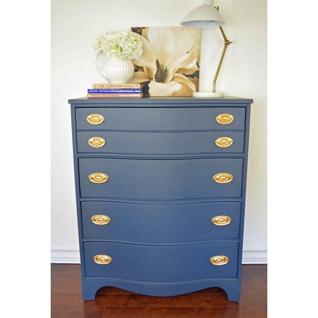 Bassett Serpentine Flat Navy-Blue and Gold Highboy Dresser - Image 3 of 11