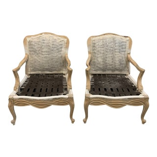 1950s French Bleached Solid Walnut Louis XV Bergere Chaires or Accent Chairs - a Pair For Sale