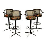 Image of Mid Century Modern Set 4 Cane Rattan Swivel Bar Stools Umanoff Style 1960s For Sale
