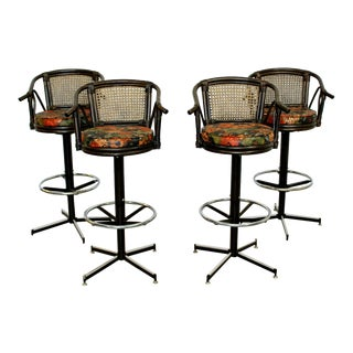 Mid Century Modern Set 4 Cane Rattan Swivel Bar Stools Umanoff Style 1960s For Sale