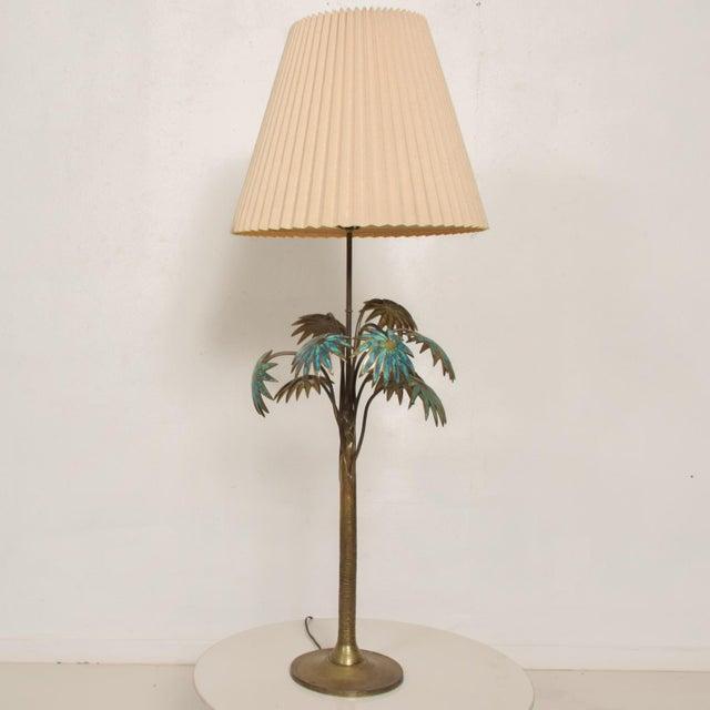 AMBIANIC presents rare offering: Exquisite Pepe Mendoza PALM Tree Table Lamp in Bronze and Malachite 1950s MEXICO...