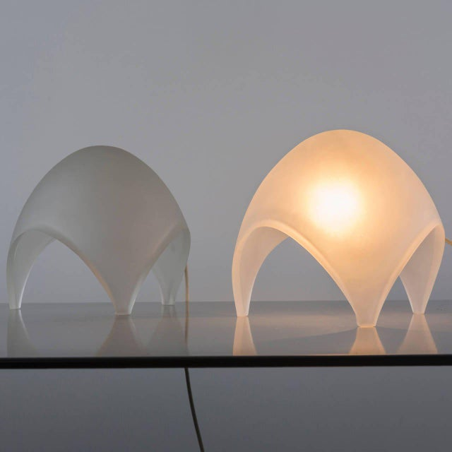 "Pair of ""Coque"" table lamps by Elio Martienelli for Martinelli. Frosted glass diffuser/structure helps creating a really..."