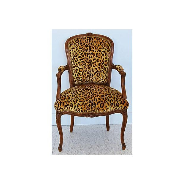 1950s Leopard Velvet Carved Armchair For Sale - Image 12 of 12