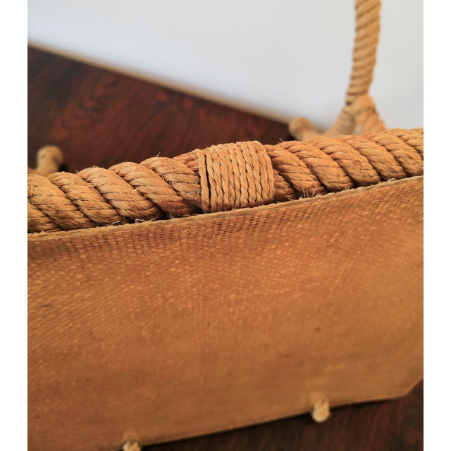 French Rope Square Side Table by Audoux & Minnet For Sale - Image 9 of 11