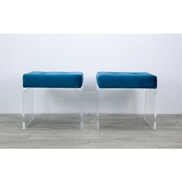Contemporary Pair of Teal Waterfall Lucite & Velvet Benches For Sale - Image 3 of 7