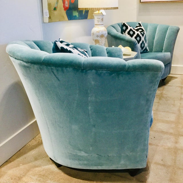Blue Velvet Chairs- A Pair For Sale - Image 11 of 13