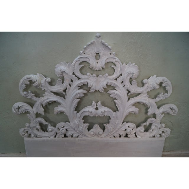 Vintage Rococo Painted Carved Wood Queen Headboard - Image 6 of 10