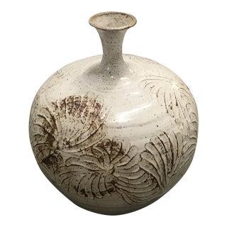 Vintage Mid Century Ceramic Handmade Flowery Cream Vase For Sale