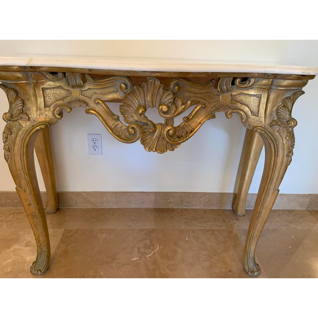French 20th Century Louis XV Giltwood Console Table With Marble Top For Sale - Image 3 of 13