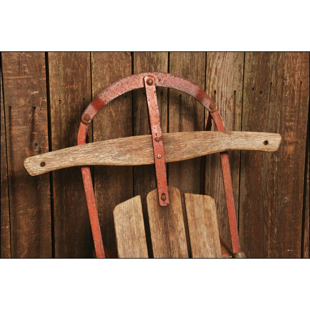 Vintage Weathered Wood & Metal Runner Sled -- Champion - Image 3 of 10
