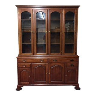 1960s Vintage Henkel Harris Cherry China Cabinet For Sale