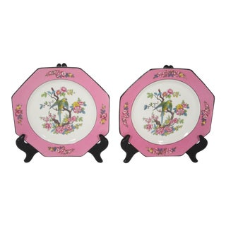 1930s Vintage English Parrot Plates - a Pair For Sale