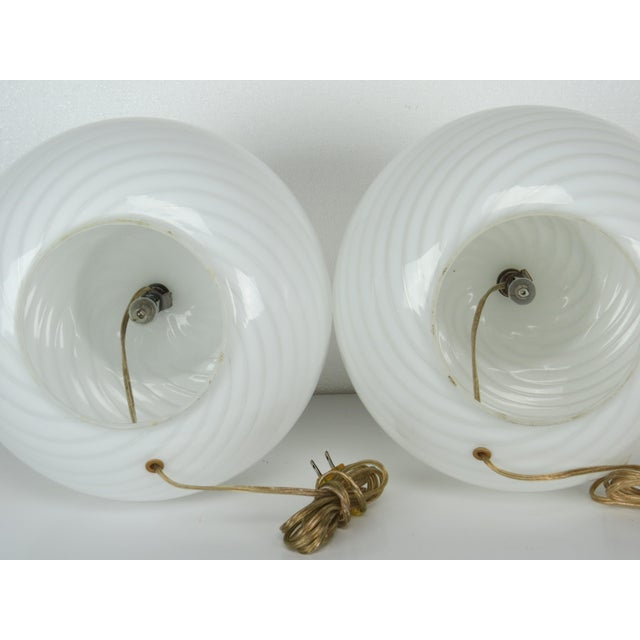 White Mid-Century Modern Murano Glass Swirl Lamps - a Pair For Sale - Image 8 of 13