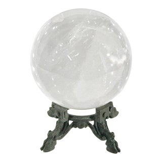 18th-19th Century French Rock Crystal Ball on Louis XIV Verdigris Bronze Stand