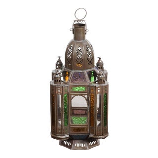 Moroccan Metal Lantern With Colored and Clear Glass For Sale