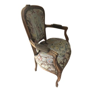 1880s Vintage French Petit Point Walnut Carved Frame Bergere Chair For Sale