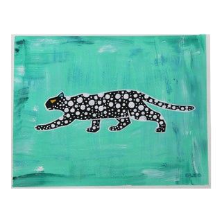 Abstract Chinoiserie Leopard Painting by Cleo Plowden For Sale