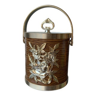 1970s Wood Grain Mini Ice Bucket With Silver Details For Sale