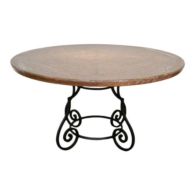 1950s Iron & Oak Ceruse Dining Table For Sale