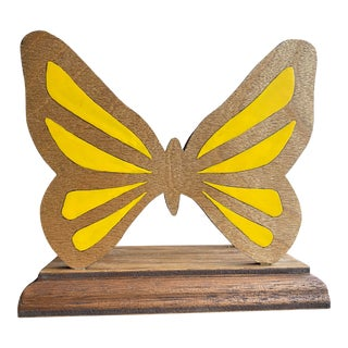 Late 20th Century Handmade Wooden Butterfly Letter Organizer For Sale