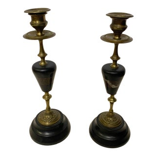 1940s Brass, Marble and Resin Candlesticks - a Pair For Sale