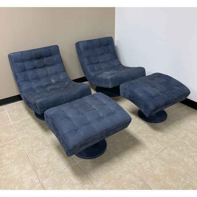 Post Modern Italian Leather Roche Bobois Swivel Lounge Chair and Ottoman For Sale - Image 12 of 12