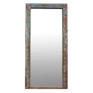 Antique Aqua Door Frame Mirror For Sale