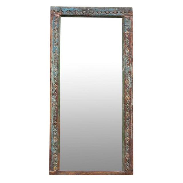 Antique Aqua Door Frame Mirror - Antique Aqua Door Frame Mirror Chairish