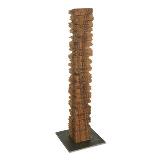 Carved Brown Wood Totem Sculpture by Fred Terrade For Sale