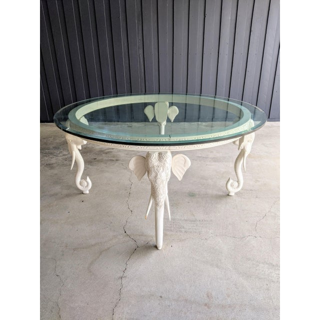 "1990s Gampel-Stoll Style Lacquered Elephant Round Dining Table 60"" Diameter For Sale - Image 5 of 10"
