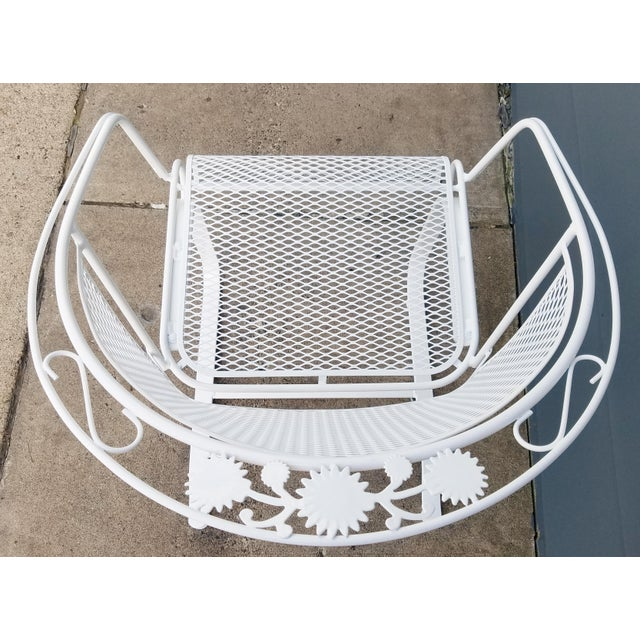 "White Vintage Woodard ""Daisy Bouquet "" Wrought Iron Barrel Back Patio Chairs For Sale - Image 8 of 11"