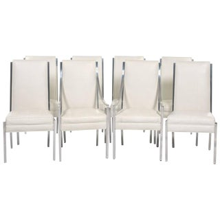 Vintage Tufted Faux Ostrich Covered Dining Chairs- Set of 8 For Sale