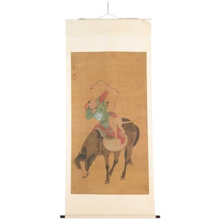 1990s Archer on Horse Scroll Ink on Silk Painting For Sale
