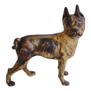 Cast Iron Boston Terrier Dog Figurine Doorstop For Sale