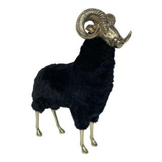 1970s Vintage Brass Ram Sculpture