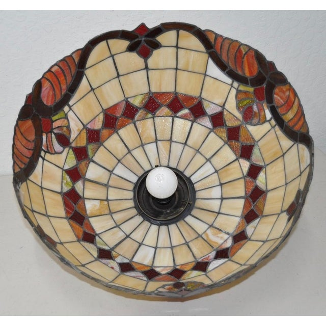 Stained Glass Dome Pendant Lamp c.1950s For Sale - Image 4 of 4