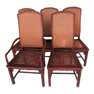 Vintage Henredon Asian Collection Cane Seat Upholstered Back Mahogany Dining Chairs For Sale